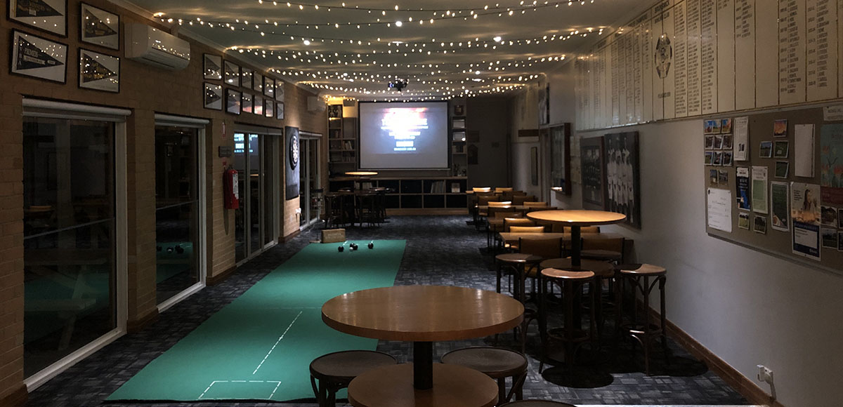 Night time function area at the Brunswick Bowls Club
