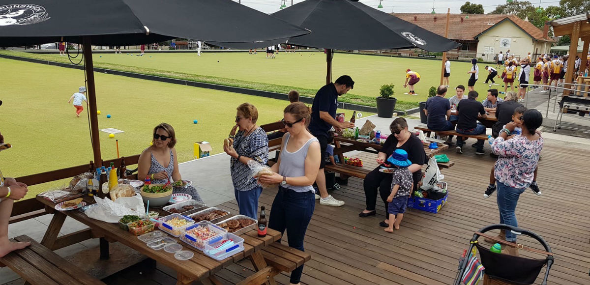 Relaxing at the Brunswick Bowls Club