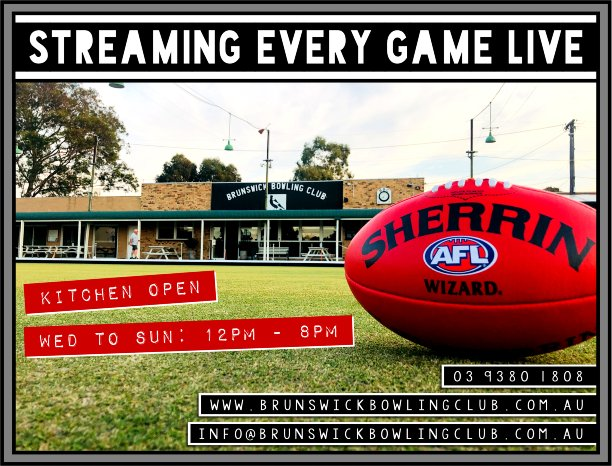 AFL streaming Brunswick Bowls Club